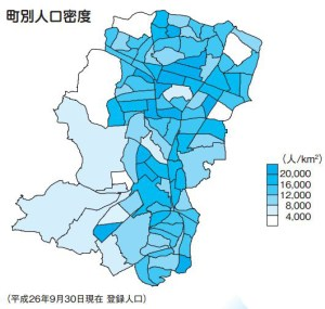 日吉・綱島では「人口密度2万人超」が当たり前? 一方で3000~4000人の町も