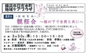 <2017年3月号>日吉本町地域ケアプラザからの最新情報~観桜会(おはなみ)講演~桜の下で自然と共に他