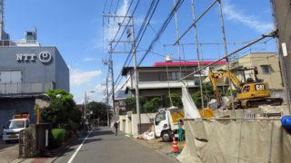 日吉中央通り至近、NTT「電話局」前のアパート解体、敷地の一部は商業地域