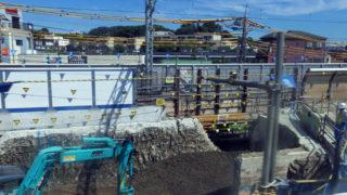 高架橋を切断中、日吉~綱島間の車窓から見える相鉄直通線のダイナミックな工事状況