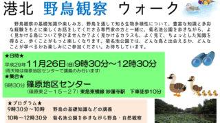 <11/26(日)開催>日本野鳥の会から講師招き、菊名池公園で親子を対象に「野鳥観察会」