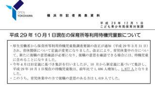 <港北区>新定義での「待機児童」は302人、横浜市内で圧倒的に最悪の状況は不変